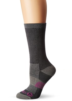 Merrell Women's 1 Pack Cushioned Lightweight Hiker Crew Socks black