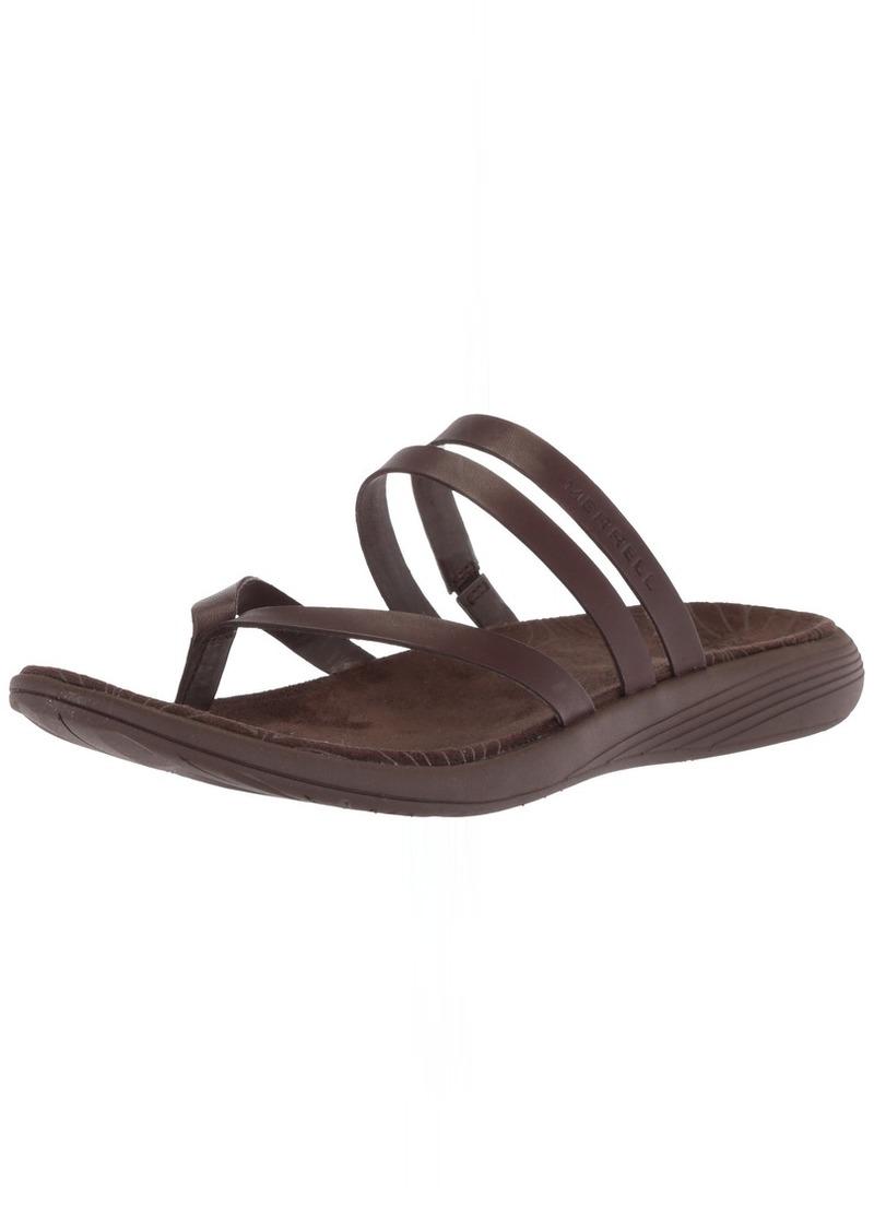 Merrell Women's Duskair Seaway Post Leather Sandal   Medium US