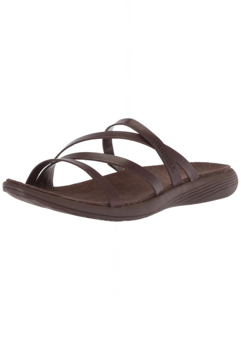 Merrell Women's Duskair Seaway Slide Leather Sandal   Medium US