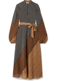 Mes Demoiselles Brange Belted Printed Silk Crepe De Chine Midi Dress
