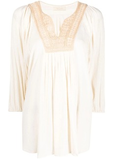Mes Demoiselles embroidered crepe blouse