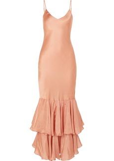 Mes Demoiselles Marmelade Ruffled Silk-satin Maxi Dress