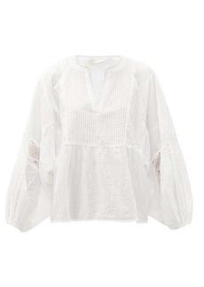 Mes Demoiselles Angela pintucked cotton-voile blouse