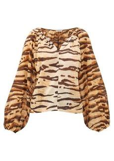 Mes Demoiselles Birmania tiger-print cotton-gauze blouse