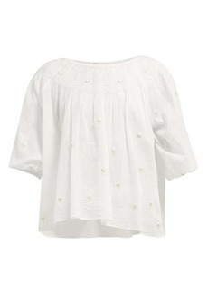 Mes Demoiselles Bourgeon floral-embroidered cotton blouse