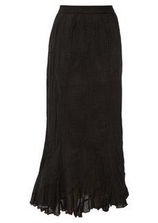 Mes Demoiselles Casta curved-panel crinkled cotton skirt