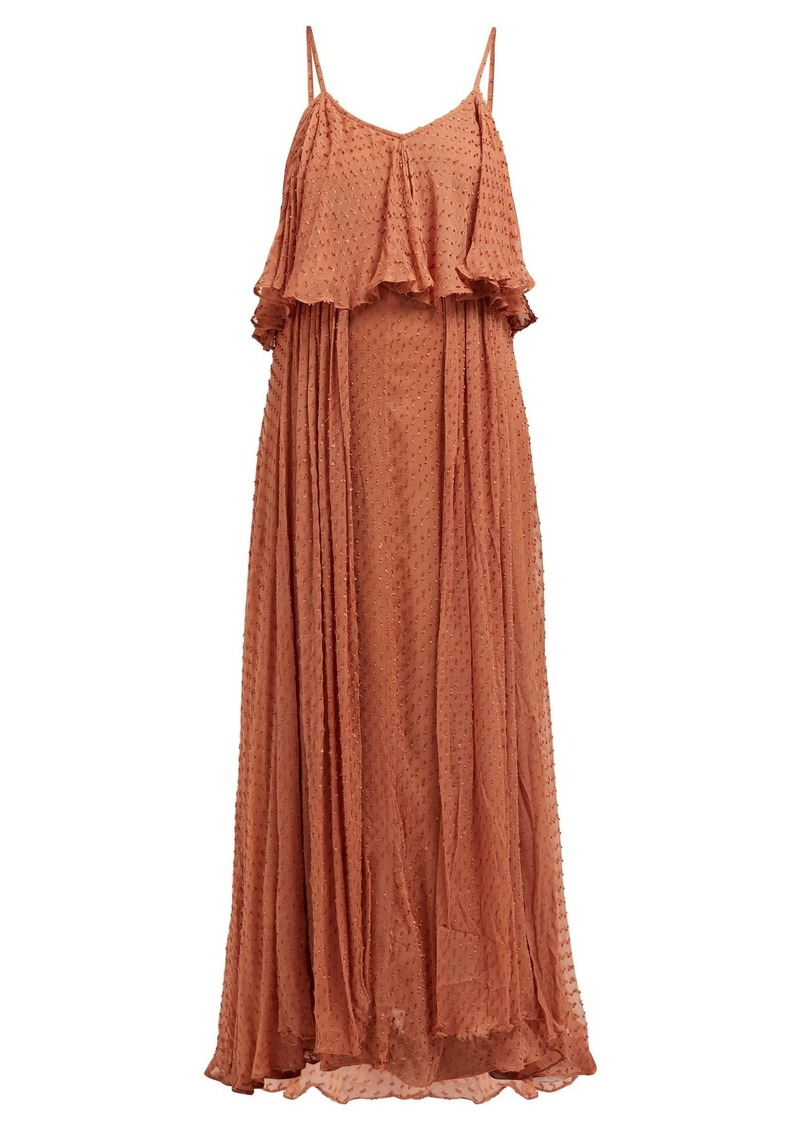 Mes Demoiselles Donatella fil coupé tiered maxi dress