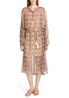 Mes Demoiselles Florine Metallic Detail Long Sleeve Dress