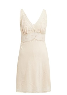Mes Demoiselles Gardner lace-trimmed cotton-blend slip dress