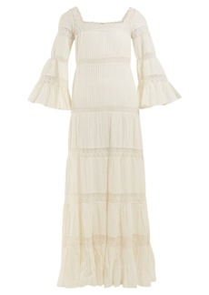 Mes Demoiselles Havilland pintucked cotton maxi dress