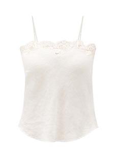 Mes Demoiselles Ponza lace-trimmed linen cami top