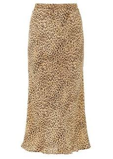Mes Demoiselles Roseton leopard-print crepe midi skirt