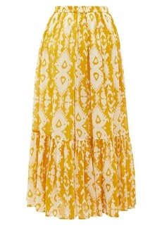 Mes Demoiselles Sumatra Ikat-print cotton-voile skirt