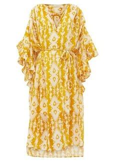 Mes Demoiselles Sybille bell-sleeve ikat-print cotton-voile dress