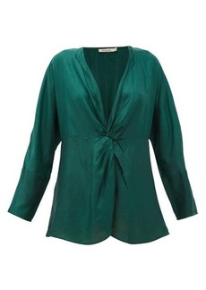 Mes Demoiselles Twilight gathered silk-satin blouse