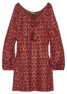 Mes Demoiselles Woman Baltimore Metallic Fil Coupé Cotton-blend Mini Dress Crimson