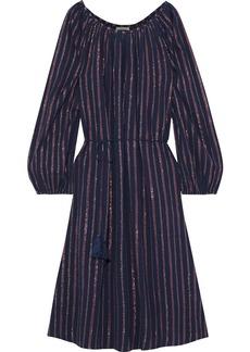 Mes Demoiselles Woman Esmeralda Striped Crinkled Cotton-blend Dress Blue