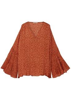 Mes Demoiselles Woman Fiorella Floral-print Silk-satin Crepe Blouse Orange