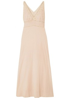 Mes Demoiselles Woman Gibson Lace-trimmed Broderie Anglaise Cotton-blend Maxi Dress Beige
