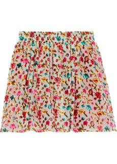 Mes Demoiselles Woman Jerry Floral-print Devoré-velvet Mini Skirt Pink