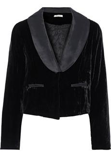 Mes Demoiselles Woman Marcello Cropped Satin-trimmed Velvet Jacket Black