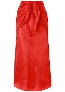 Mes Demoiselles Woman Nereide Knotted Crinkled Silk-satin Midi Skirt Tomato Red