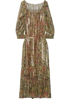 Mes Demoiselles Woman Paturage Floral-print Metallic Silk-blend Georgette Maxi Dress Sage Green