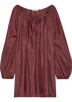 Mes Demoiselles Woman Persee Gathered Striped Silk-habotai Blouse Claret