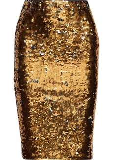 Mes Demoiselles Woman Rita Sequined Stretch-knit Pencil Skirt Gold