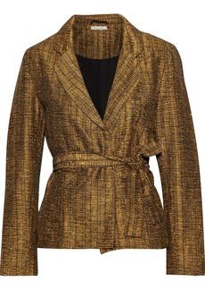 Mes Demoiselles Woman Sledge Belted Metallic Tweed Jacket Gold
