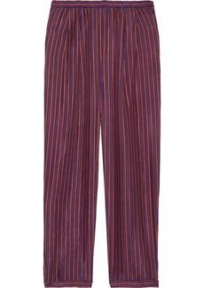 Mes Demoiselles Woman Society Cropped Striped Silk-satin Straight-leg Pants Plum