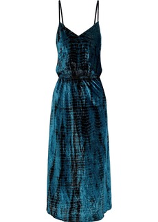 Mes Demoiselles Woman Suzie Tie-dyed Crushed-velvet Midi Slip Dress Cobalt Blue