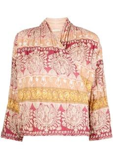 Mes Demoiselles ornate pattern wrap blouse