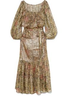 Mes Demoiselles Printed Metallic Silk-blend Chiffon Maxi Dress