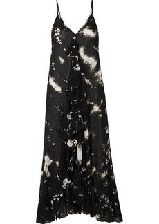 Mes Demoiselles Ruffled Tie-dyed Cotton-voile Midi Dress