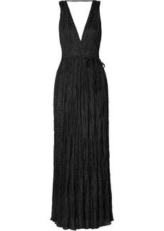 Mes Demoiselles Semsema Crinkled Silk-satin Maxi Dress
