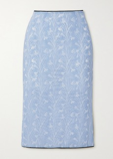 Miaou Moni Lace-trimmed Floral-print Stretch-mesh Skirt