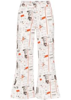 Miaou Soni newsprint flared jeans