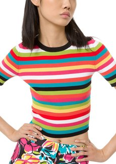 Michael Kors 1/2-Sleeve Multi-Striped Ribbed Crewneck Tee