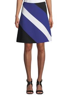 Michael Kors A-Line Colorblocked Wool Crepe Skirt