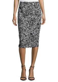 Michael Kors Allover Dotted Matelasse Pencil Skirt  White/Black