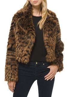Michael Kors Animal-Print Furry Faux Fur Jacket