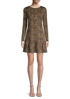 Michael Kors Animal-Print Ruffle Hem Dress
