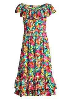 Michael Kors Aquatic Sea Life Silk Georgette Belted Ruffle Dress