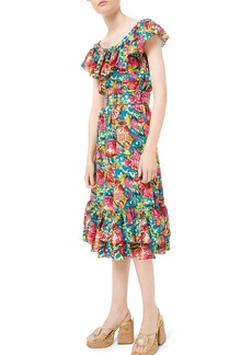 Michael Kors Aquatic Sealife Crushed Silk Georgette Dress