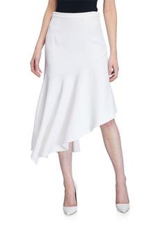 Michael Kors Asymmetric Crepe Ruffle Midi Skirt