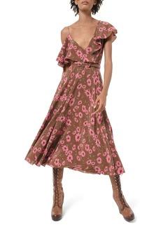 Michael Kors Asymmetric Floral-Print Silk Chiffon Dress