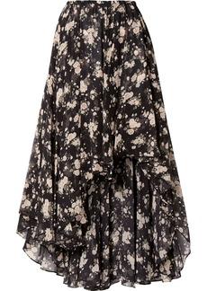 Michael Kors Asymmetric Floral-print Silk-chiffon Midi Skirt