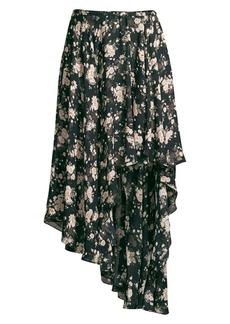Michael Kors Asymmetric Floral Silk Chiffon Midi Skirt