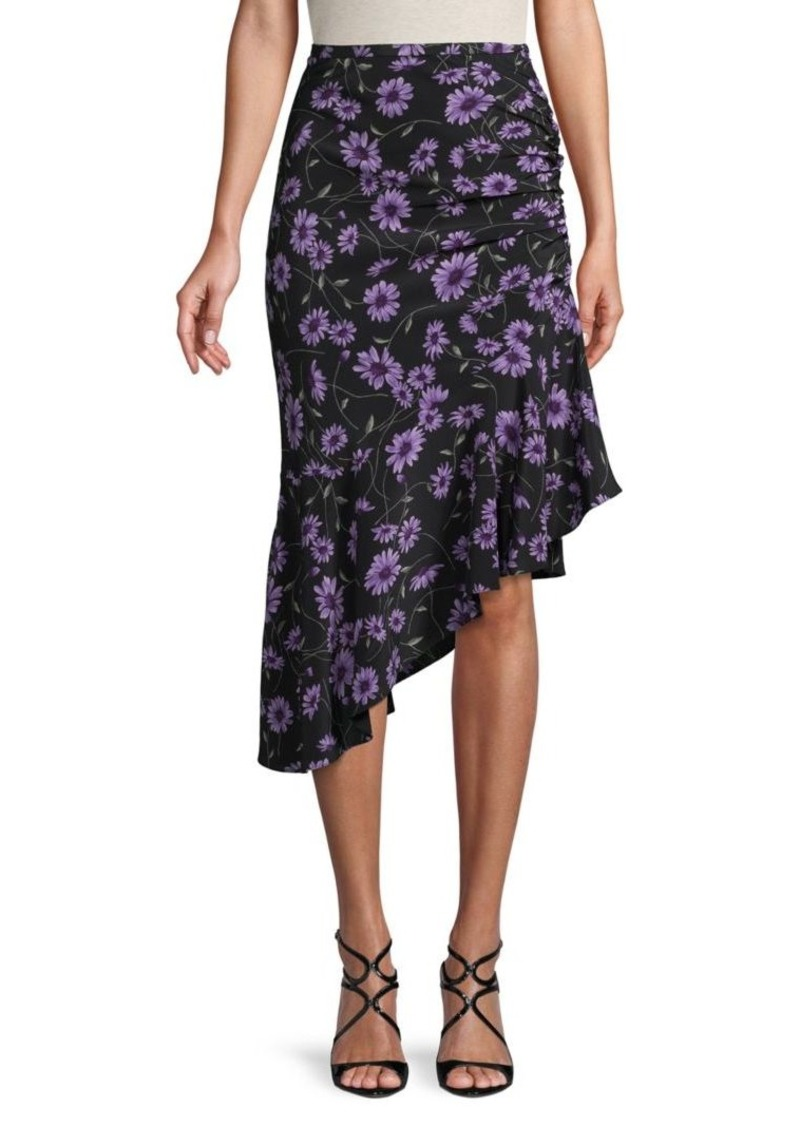 Michael Kors Asymmetric Floral Silk Skirt